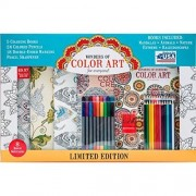 Wonders of Color Art Coloring Pack - Kit Includes 5 Beautiful Coloring Books, 24 Colored Pencils, 18 Double Ended Markers, a Pencil Sharpener, and 8 Delightful Notecards by Wonders of Art