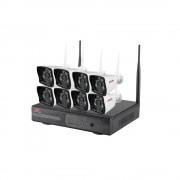 Kit videosorveglianza ip wireless nvr 8 canali 8 telecamere 960p ip wifi autoconfigurante, spazio disco 2 tb