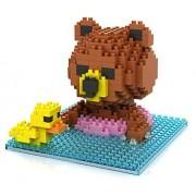 Little Treasures Loz diamond blocks brown bear swimming with a duck - I-block fun Mini Building Brick Set children's educational toy 280pcs new in original box