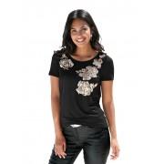 AMY VERMONT Shirt mit Paillettendekoration in floraler Form, schwarz