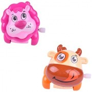 Cute Pack of 2 Mini Lion and Buffalo Friction Powered Moving Wind Up Chain Toy - VPA-Lion-Buffalo-Wind-Up