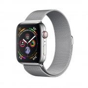 Часы Apple Watch Series 4 GPS + Cellular 44mm, корпус нержавеющая сталь серебро, миланский сетчатый браслет серебристый (MTX12)