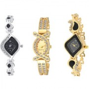 R P S fashion new looked model fancy combo pack of 3 girl watch