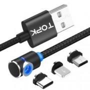 Cablu de incarcare 3 in 1 TOPK magnetic LED 2.4A MicroUSB Lightning Type-C unghi 90 grade si rotatie 360 de 1m negru