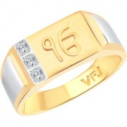 Vighnaharta Lord Ek Onkar CZ Gold and Rhodium Plated Alloy Gents Ring for Men & Boys