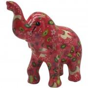 Pomme Pidou Spaarpot olifant roze met lama/alpaca print 20 cm