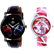 Red-Blue Dial And Pink Sep Leather Strap Analogue Watch By Taj Avenue
