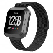 Stainless Steel Milanese Wrist Watch Strap for Fitbit Versa - Size: S / Black