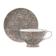 Porcelán teáscsésze és alj Grey Floral, Ditsy Floral