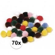 Rayher hobby materialen 70x knutsel pompons kleuren assortiment 7 mm