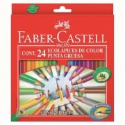 Creioane Colorate Triunghiulare 24 culori Mina Groasa Eco Faber-Castell