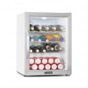 Klarstein Beersafe XL Crystal White, хладилник, A++, 60 л, LED, метални рафтове, стъклена вратичка,бяло/сребърен (HEA-Beersafe XL WSS)