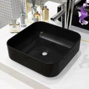 vidaXL négyzet alakú, fekete kerámia mosdókagyló 38 x 38 x 13,5 cm