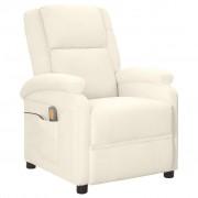 vidaXL Fotel masujący z eko-skóry, elektryczny, regulowany, biały