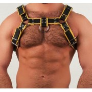 MisterB Genuine Leather BDSM Top Harness Black-Yellow