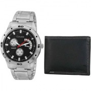 Crude Combo of Black Dial Watch-rg700 With Black Leather Wallet