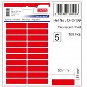Etichete autoadezive color, 13 x 50 mm, 200 buc/set, Tanex - rosu fluorescent