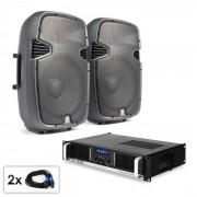 """Conjunto PA """"SPJ Boom 15 MKII"""" Par de altifalantes de 38 cm e Amplificador 1500W"""