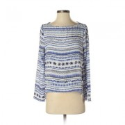 Eight Sixty Long Sleeve Blouse: Blue Stripes Tops - Size Small