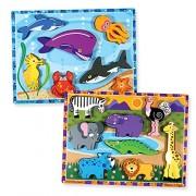 Melissa & Doug Wooden Chunky Puzzle 2 Pack - Safari (8 Pcs), Sea Creatures (7 Pcs)