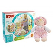 Maven Gifts: Fisher-Price Brilliant Basics Stroll-Along Walker with Gund My First Dolly Blonde Stuffed Doll