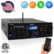 Pyle Wireless Bluetooth Power Amplifier System 200W Dual Channel Sound Audio Stereo Receiver w/ USB, SD, AUX, MIC IN w/ Echo, Radio, LCD For Home Theater Entertainment via RCA, Studio Use PDA6BU