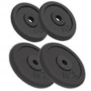 vidaXL Дискове за тежести, 4 бр, 2х10 кг+2х5кг, чугун