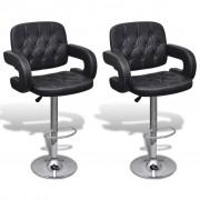 vidaXL Set 2 scaune bar pivotante piele artificială cu suport brațe Negru