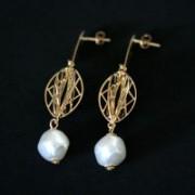 Semi Jewelry Earring Plated Gold Medium Pearl