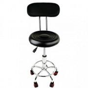 Scaun hidraulic cu spatar si roti, Negru, Taburet rotativ salon