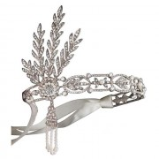 Tiara Borealy Pearls Silk Great Gatsby Luxury Headband