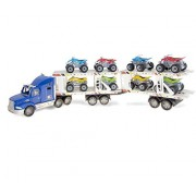 Mozlly Blue Trailer Truck with ATVs Blue Trailer Toy Trucks with Toy ATVs - Vehicle Theme - Assorted Blue Pick Up Truck and ATV's - 9 pieces in the set - Item #101243