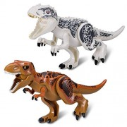Dinosaur Toys:T-Rex Tyrannosaurus rex,2X Jurassic World Vivid Large-Scale Dinosaurs Brick Blocks,2 x Dinosaur Toy Building Blocks.