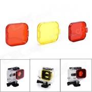 Caja de buceo naranja / rojo / amarillo filtros para gopro hero 3
