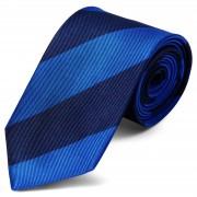TND Basics Königsblau & Marineblau Gestreifte Seidenkrawatte 8cm