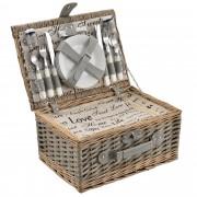 [casa.pro]® Piknik kosár - 4 személyes - evőeszköz, pohár, tányér (szürke)