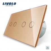 Intrerupator dublu + dublu cu touch Wireless Livolo din sticla, auriu