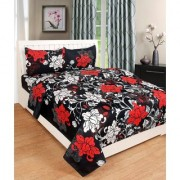 Craftwell 3d Bedsheet with 2 Pillow cover (white red flowers)