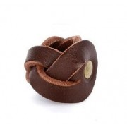 Pierścień pleciony harcerski, skórzany do chusty ZHP brązowy