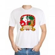 Bellatio Decorations Foute Kerst t-shirt wit Santa is no vegan heren