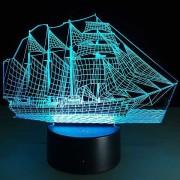 Lampa de veghe cu LED colorat, model vapor 3D