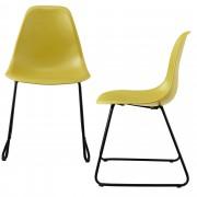 [en.casa]® Design stolica - set od 2 komada - 82 x 46,5cm - metalne nogare - senf žuta