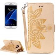 Para Samsung Galaxy S7 EDGE / G935 Media Flor Impresión Horizontal Flip Funda De Cuero Con Soporte Y Ranuras Para Tarjetas Y Billetera Y Lanyard (oro)