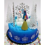 Cake Toppers Winter Wonderland Princess Elsa Frozen Birthday Cake Topper Set Featuring Anna, Elsa, Olaf and Decorative Themed Accessories