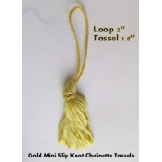 10 x Mini Chainette GOLD Tassels Bridal Decorations, Cards, Bookmarks, Sewing