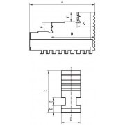 APX Szczęki jednolite wewnętrzne do uchwytów 3-szczękowych STW3 160mm
