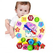 Creative Wooden Color and Shape Geometric Sorting Board - Stack & Sort Puzzle Toys - Perfect Birthday Gift Reward Idea(Clock)