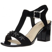 Clarks Women's Deva Daisy Black Sde Leather Fashion Sandals - 6 UK
