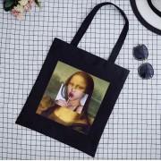 Leuke zomertas voor tienermeisje of dame met grappige print. Grappige Mona Lisa katoenen tas voor zomer.