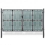 vidaXL Poartă dublă neagră pentru gard 300 x 200 cm